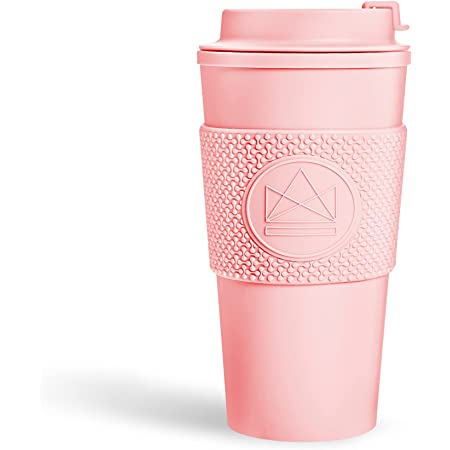 Neon Kactus - Double-Walled Coffee Cup, Reusable Coffee Cup with Resealable Lid, Food-Grade Silicone Seal and Sleeve, Insulated Coffee Tumbler, Leakproof Travel Mug, Recyclable, PinkFlamingo, 16oz