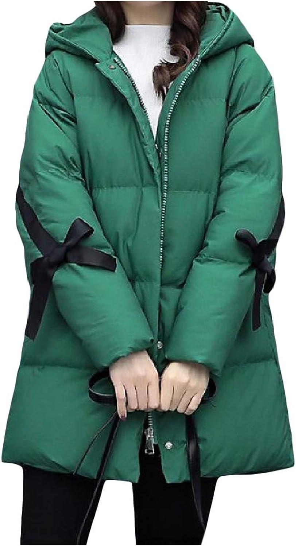 Vska Women's Winter Loose Hooded Zipper MidLong Outwear Pea Coat Jacket