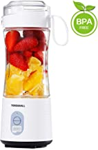Tenswall Portable, Personal Size Smoothies and Shakes, Handheld Fruit Machine 13oz USB Rchargeable Juicer Cup, Ice Blender Mixer Home/Of, 380ML, White