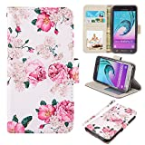 UrSpeedtekLive J3 2016 Case, Galaxy J3 V Case, Premium PU Leather Flip Wallet Case Cover with Card Slots & Stand for Samsung Galaxy J3 (2016),Flower 2
