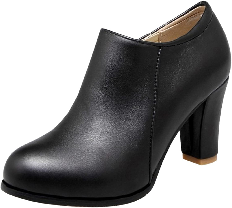 CarziCuzin Women Solid Block Heel Short Boots Round Toe Black Size 42 Asian
