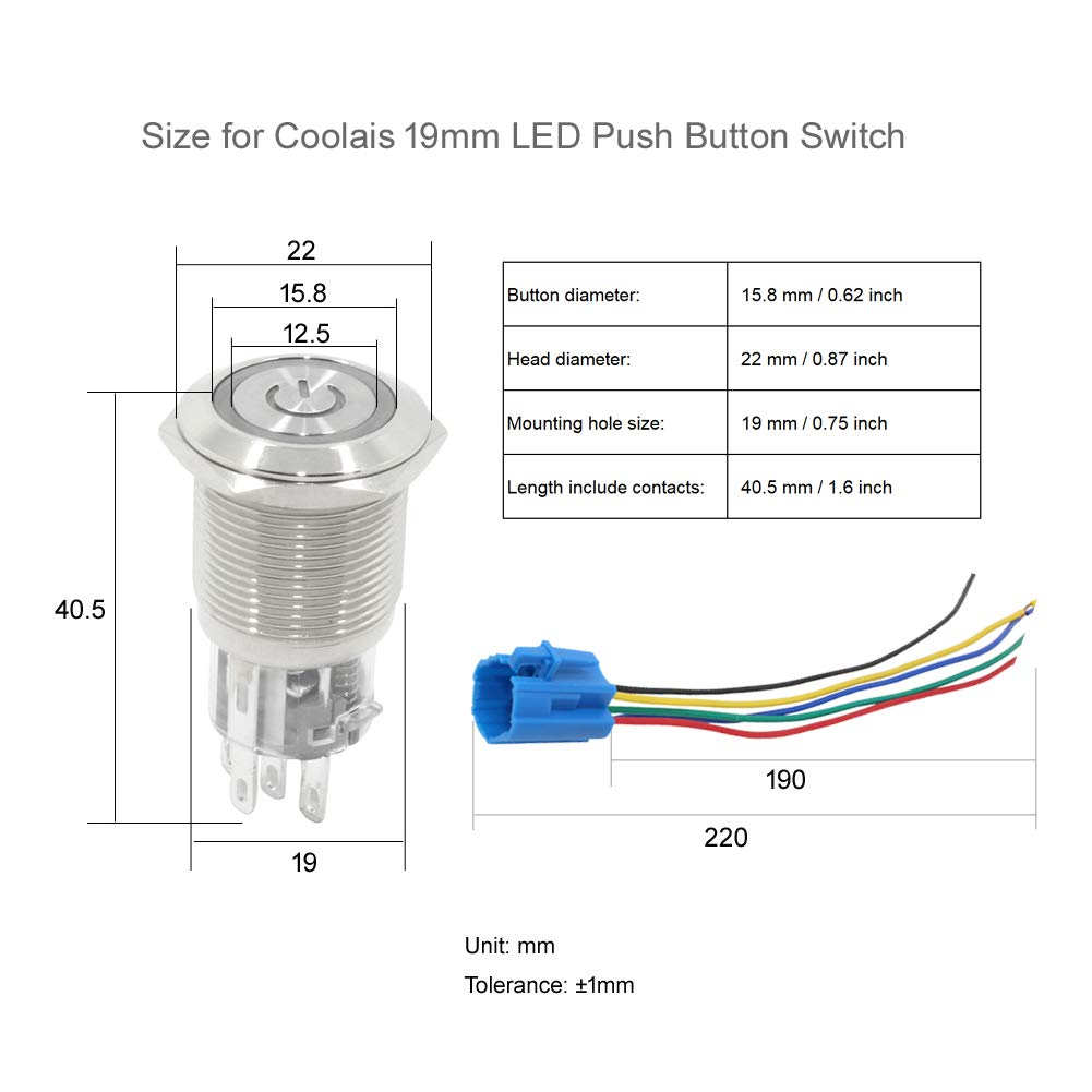 Amazon.com: 12V Push Button Latching Switch On Off Waterproof Switches IP67  Buttons Blue Led Pushbutton Locking Button Switches 19mm 5A 12 Volt with  Socket Plug Wire PBSLL-03 (Blue-Latching/self-lock)): Industrial &  Scientific | Push Button Wire Diagram |  | Amazon.com