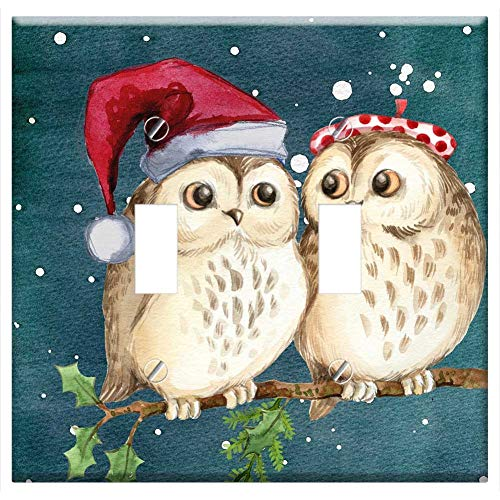 Switch Plate Double Toggle - Merry Christmas Owls Watercolor Card Winter Snow