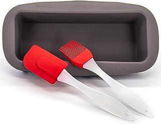 GOURMEO Moulle à cake rectangulaire anti-adhésif en silicone - Moulle pour patisserie - 2 accessoires inclus - Moule a pai...