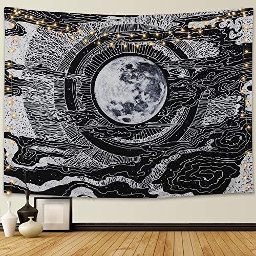 Dremisland Mond und Stern Wandteppich Wandbehang Mandala Tuch Wandtuch Tarot Tapisserie Schwarz Weiss Wandkunst für Wohnzimmer Schlafzimmer Dekor (Mond, L/148x200cm)