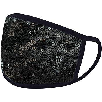 Woohooens Tessuto Bocca in Cotone per Unisex - Paillettes Moda Bling - Lavabili Riutilizzabili Antipolvere Visiera Viso per Salute Aperto Sportivo