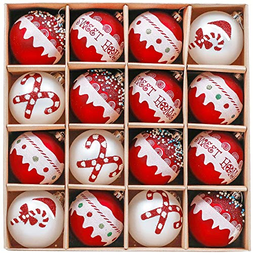 Valery Madelyn Palle di Natale 16 Pezzi 8cm Palline di Natale, Dolci Caramelle Rosse e Bianche Infrangibili Decorazioni per Palle di Natale per Decorazioni per Alberi di Natale