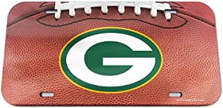 WinCraft NFL Green Bay Packers Crystal Mirror Football License Plate, Team Color, One Size
