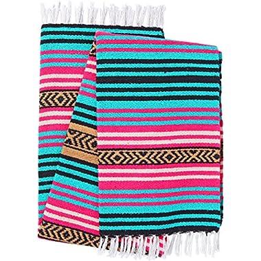 El Paso Designs Peyote Hippie Blanket Classic Mexican Style Falsa Stripe Pattern in Vivid Peyote Colors. Throw, Bed, Tapestry, or Yoga Blanket. Hand Woven Acrylic, 57  x 74  (Peyote 3)
