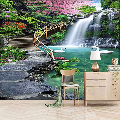 Msrahves Fotomural TV Verde plantas piscinas gansos Fotomurales para Paredes Mural Vinilo Decorativo Decoración comedores,Salones, Habitaciones