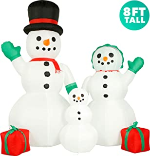 Holidayana 8 ft Inflatable Christmas Snowman Family Outdoor Decoration, Christmas Inflatables Decorations with LED Lights, Fan, and Stakes
