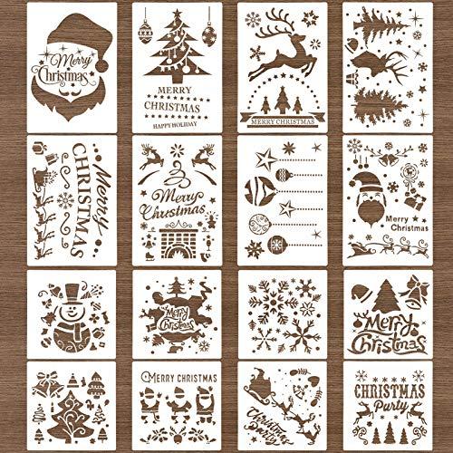 Kiiwah 16 Stück Weihnachten Schablonen Vorlage Schneemann Weihnachtsbaum Rentier Schablonen Vorlage für Weihnachten Fenster Glastür Deko
