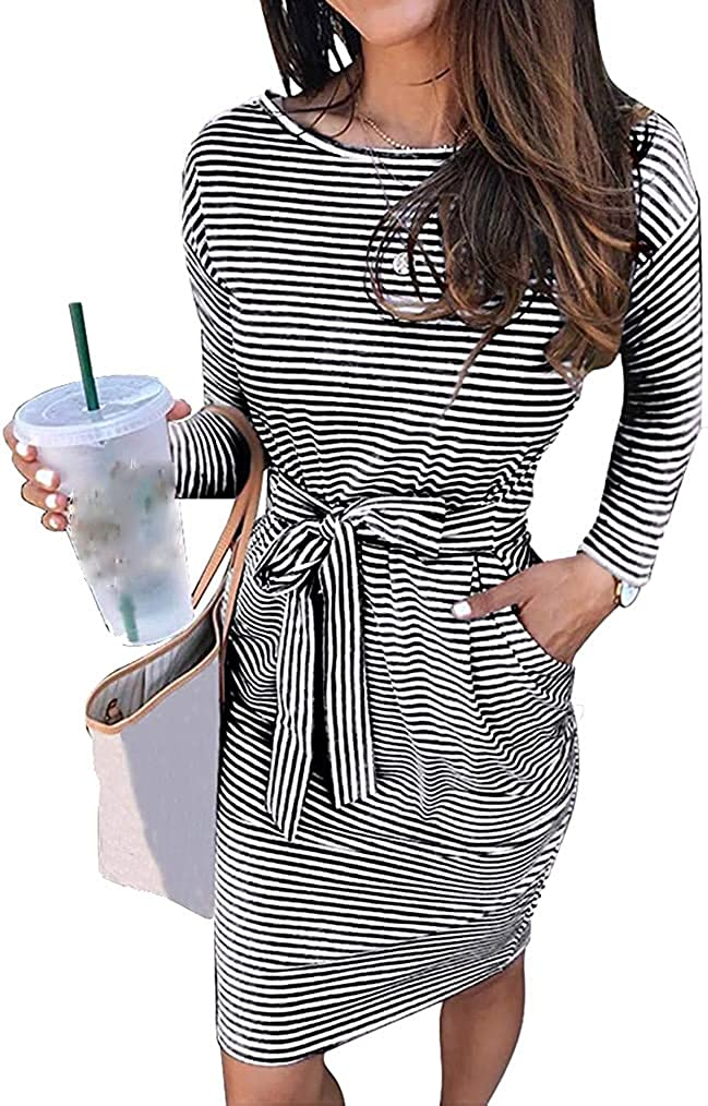 Miselon Women's Summer Casual Tshirt Dress Short/Long Sleeve Belted Office Pencil Party Dresses with Pocket