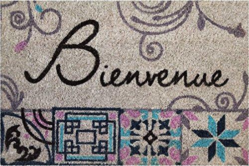 ID Mat Tapis Paillasson 80 x 150 cm Beige Fibres Coco blanchies sur Semelle PVC