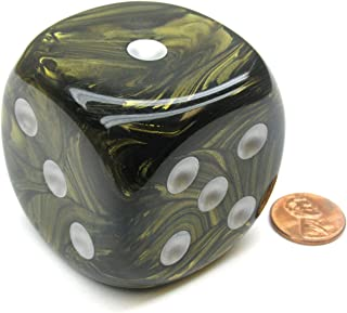 Chessex Leaf 50mm Huge Large D6 Dice, 1 Piece - Black Gold with Silver Pips