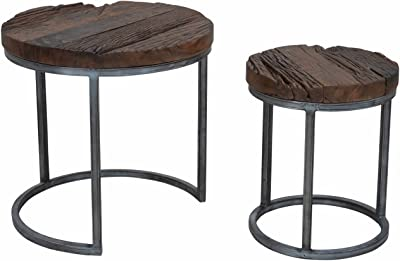 Old Wood Round Nesting Tables, KALLA, Silver Base, 2-Piece Set