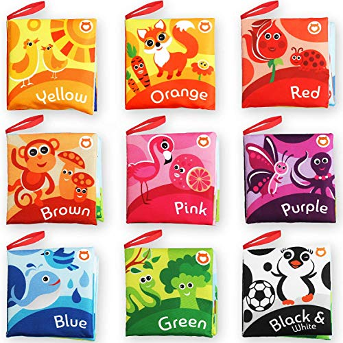 Cloth Books for Babies (Set of 9) - Color Recognition Series. Soft Books for Toddlers. Touch and Feel Crinkle Paper / Infant Book. Baby Learning Toys / Educational Toys for 3 Months to 4 Years Old