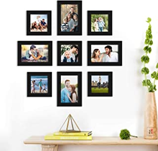 Cosmic Set of 9 Black Wall Photo Frame, Picture Frame for Home Decor with Free Hanging Accessories-Size-5x5, 5x7 inchs