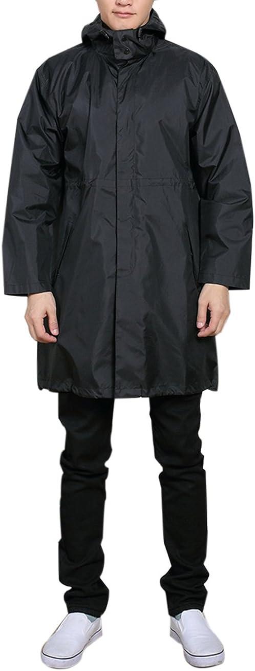 zhxinashu Men Raincoat with Hood Trench Coat Waterproof Poncho Lightweight