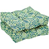 AmazonBasics Tufted Outdoor Seat Patio Cushion - Pack of 2, 19 x 19 x 5 Inches, Blue Flower
