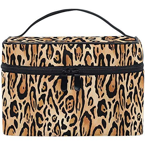Bolsa de cosméticos Animal Leopard Print Maleta de Maquillaje Estuche portátil con Cremallera portátil Bolsa de Cepillo cosmético Almacenamiento Grande