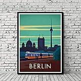 Lienzo de pintura vintage, póster de viaje de Berlín con mapa de la ciudad de Berlín, póster artístico, cuadro impreso, para salón, decoración del hogar, sin marco (40 x 50 cm)