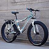 GAYBJ Motonieve Bicicleta de Grasa 24/26 de Bicicletas de montaña Outroad Pulgadas Pequeña Bicicleta portátil 7/21/24/27 con Frenos de Disco de Doble Velocidad,E,26 inchi 21 Speed