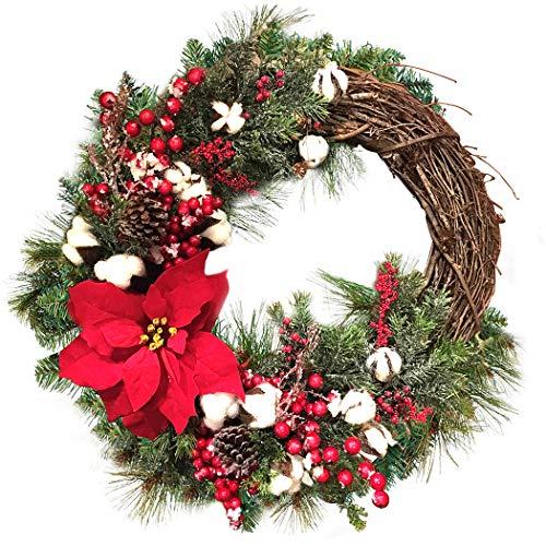 Corona di Natale artificiale Elegante corona di decorazioni natalizie ghirlanda appesa per la decorazione della portaPer un Natale perfetto