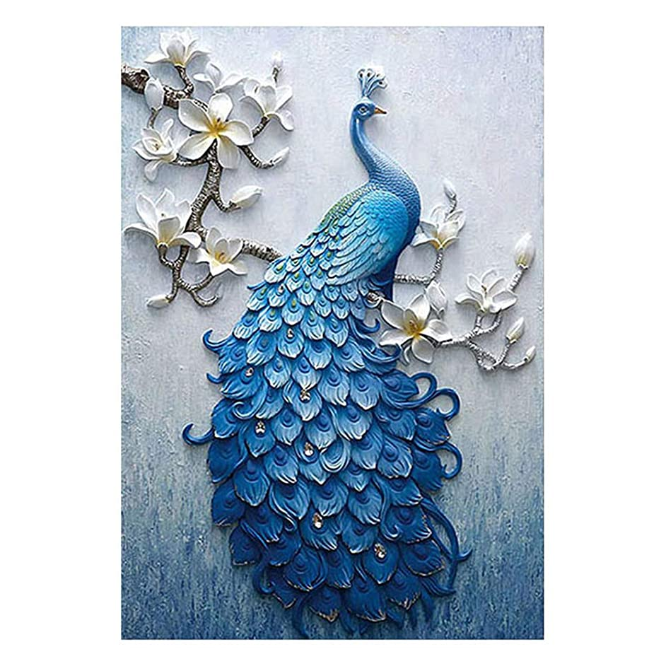 5D DIY Full Drill Diamond Painting Kit,Peacock Magnolia Diamond Embroidery Handmade Diamond Rhinestone Mosaic Cross Stitch Picture Home Decor Art