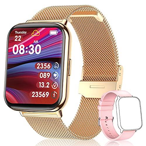TagoBee Smartwatch Mujer,IP68 Impermeable con 1.69' Táctil Completa Reloj Inteligente Mujer Monitor de Sueño Pulsómetro,Oxígeno de Sangre,GPS Podómetro 24 Modos Deporte Compatible con iOS y Android