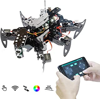Adeept Hexapod Spider Robot Kit Compatible for Arduino with Android APP and Python GUI, Spider Walking Crawling Robot, Self-stabilizing Based on MPU6050 Gyro Sensor, STEAM Robotics Kit with PDF Manual