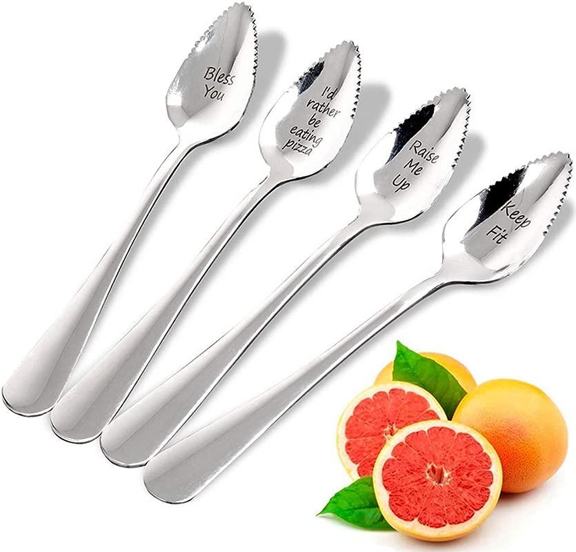 Grapefruit Spoons JUSTDOLIFE Handmade Imprint Grapefruit Spoons Silver Stainless Steel Half Serrated Citrus Fruit Vintage Dessert Spoons Gift For Kitchen