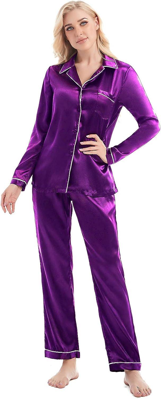 AMONIDA Silk Satin Pajamas Set for Women Button Up Long Sleeve Sleepwear