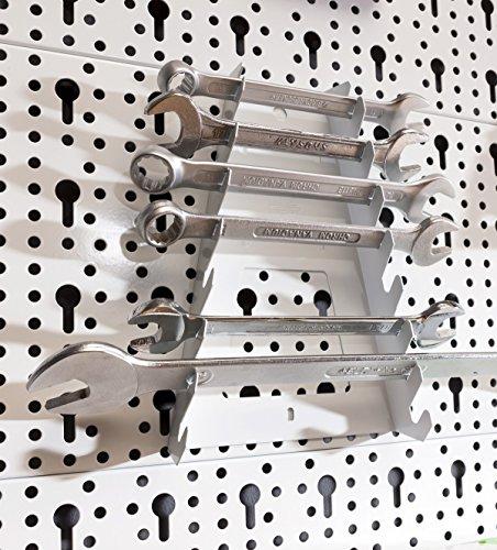Element System Werkzeuglochwand aus Metall plus 19 teilig Werkzeughalterset inklusive Schrauben und Dübel, Werkzeugwand weiß, Werkbankzubehör - 3