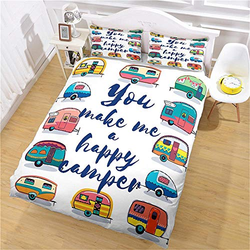 Super King Size Duvet Cover Sets Soft Comfortable Lightweight Breathable Bedding Set Cartoon Cute Car for Kids Boys Girl Microfibre Three Piece 2 Pillowcases with Zipper Closure(260X220cm)