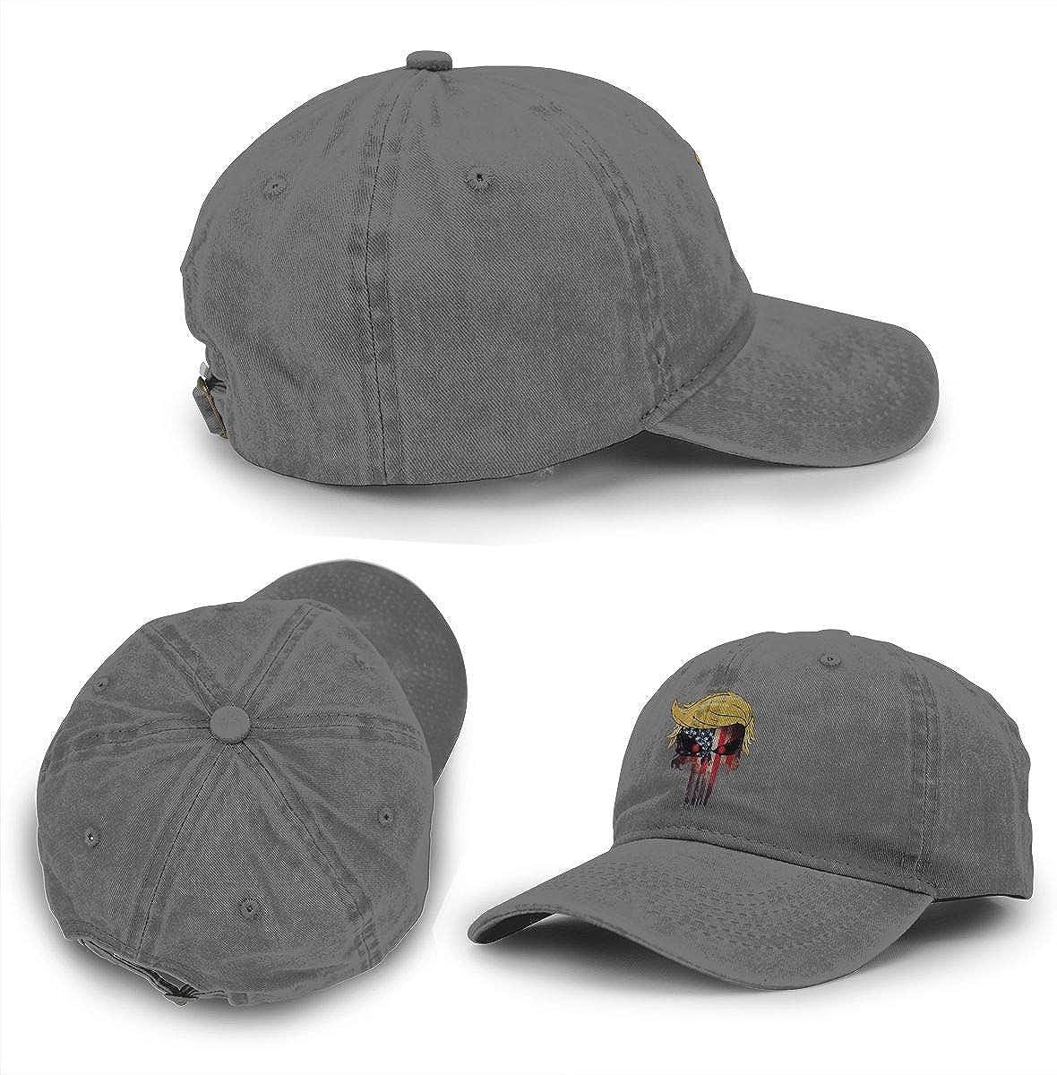 Trump Skull Adult Outdoor Vintage Cotton Cowboy Hat Sports Trucker Hat Baseball Cap