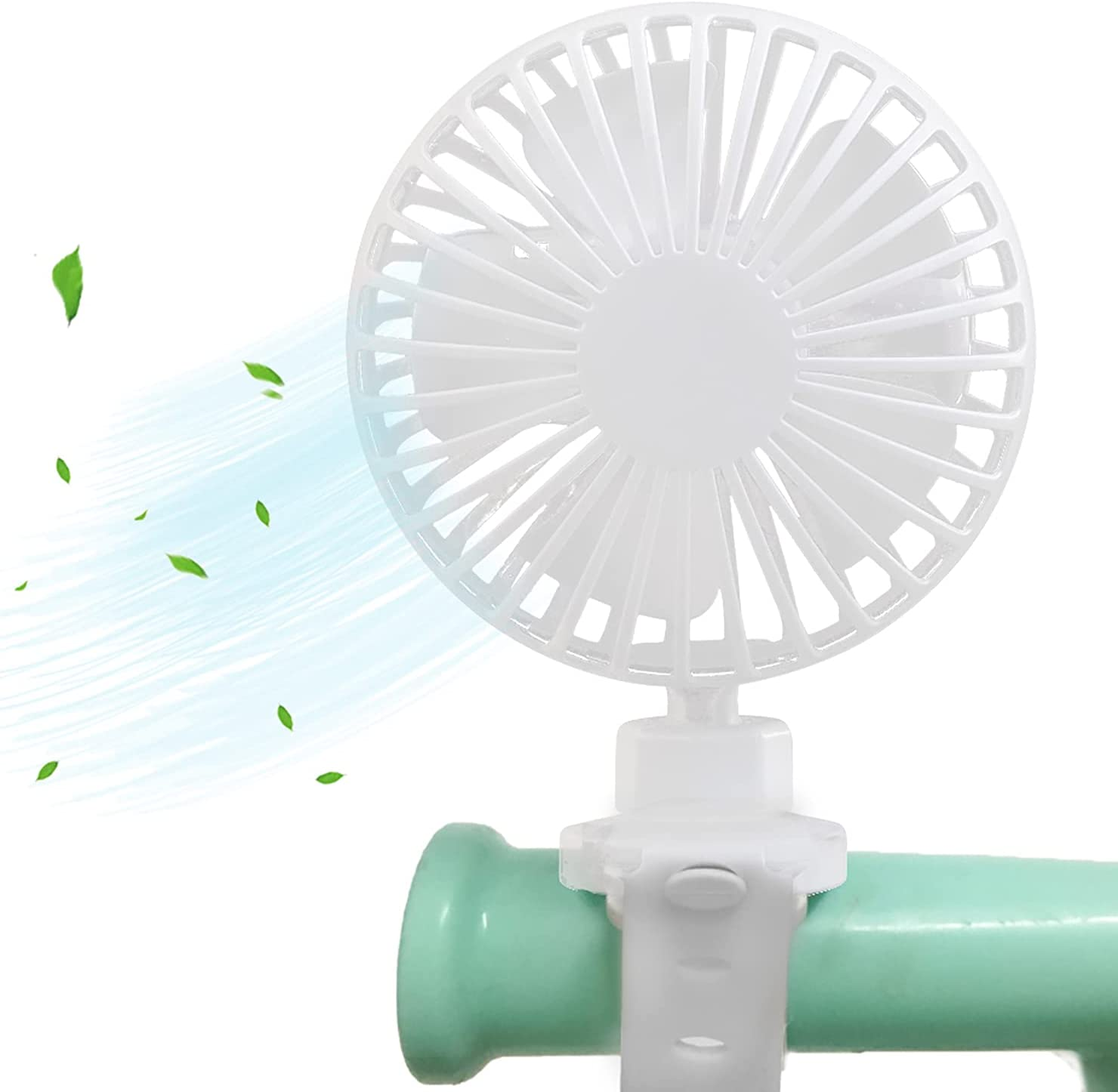 Stroller Fan, Clip on Portable Fan for Stroller, Battery Powered Mini USB Rechargeable Fan with Adjustable Silicone Strap, 3 Speeds, 360° Rotation Personal Fan for Camping, Traveling
