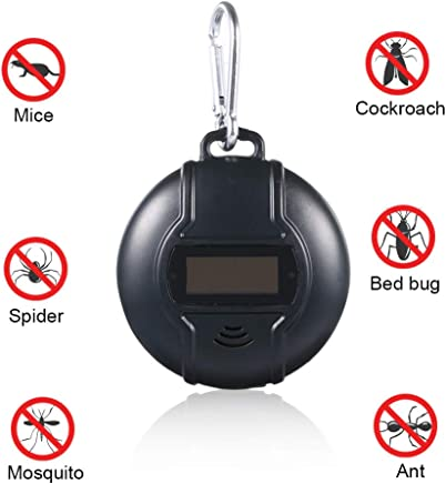 Fesjoy Solar Mosquito Repelente de Ultrasonico Electrónico No Tóxico Portátil Al Aire Libre Anti Cucarachas Pulgas Moscas Insectos Cucarachas Roedores Hormigas Arañas Pulgas Ratones Repelente