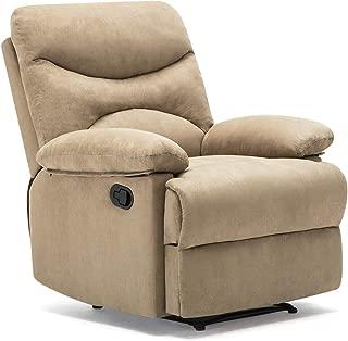 Windaze Recliner Chair, Massage Heat Lounge Manual Sofa Chair Microfiber Ergonomic for Living Room Beige