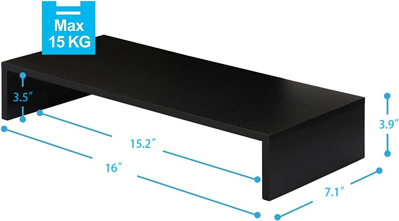 Wood Computer Monitor Stand Riser 16 inch Desktop Stand, Speaker TV Laptop Printer Stand Workspace Organizer (Black-2pack)