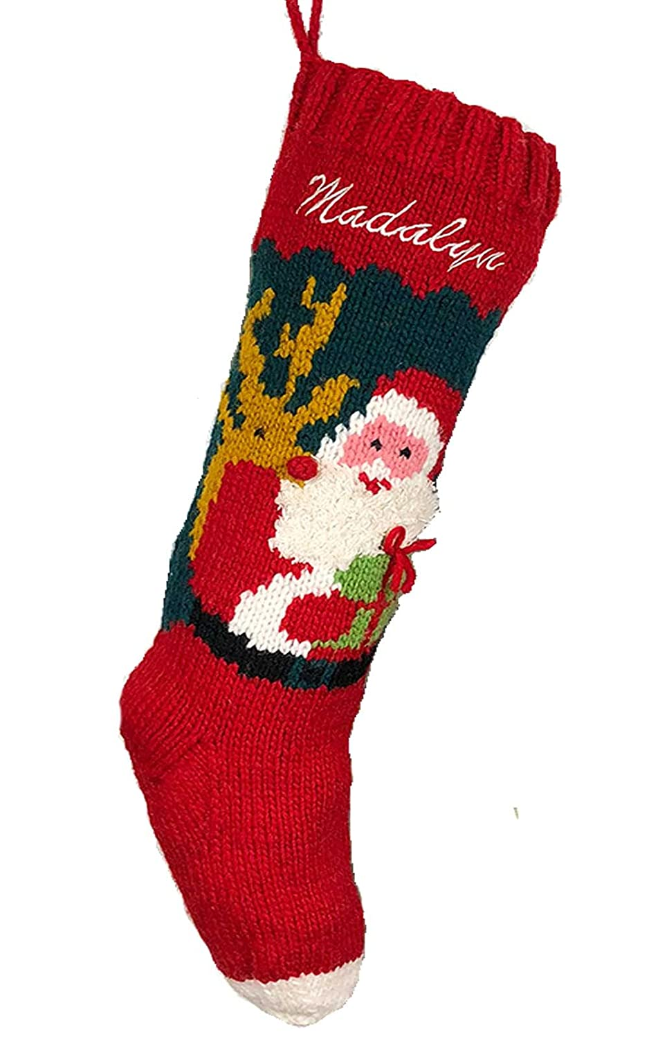 Christmas Stocking Personalized Hand Santa Knit quality assurance Sales for sale Reindeer