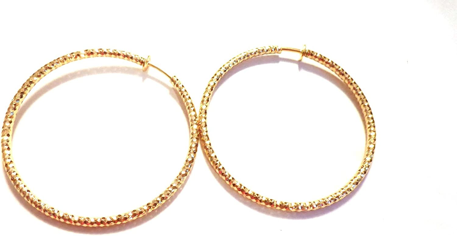 Clip-on Earrings Plated Gold Tone 2.25 inch Texture Hoops Hypo-Allergenic