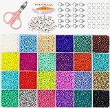 Cuentas de Colores, KEEHOM Set Mini Cuentas 2mm Abalorios Cristal para DIY Pulseras Collares Bisutería (24 Colores)