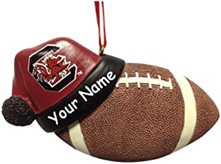 Personalized South Carolina University Gamecocks Collegiate Football with Santa Claus Stocking Cap Hanging Christmas Ornament with Custom Name