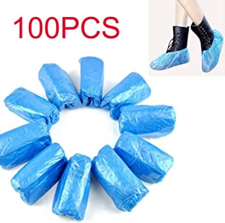 100 PCS Disposable Shoe & Boot Covers Durable & Water Resistant Indoor Carpet Floor Protection One Size Fits Most (As Shown, 100pcs)