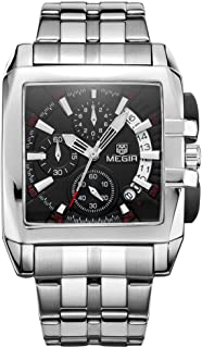 ساعة يد MEGIR للرجال فاخرة عصرية من الفولاذ المقاوم للصدأ كوارتز ساعة يد مضيئة مقاومة للماء