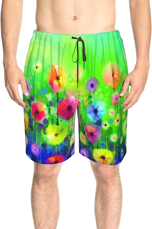 Men's Swim Shorts Colorful Nature Flowers Swim Short Boardshort Drawstring 3D Printed Swimwear Bathing Suits with Lining
