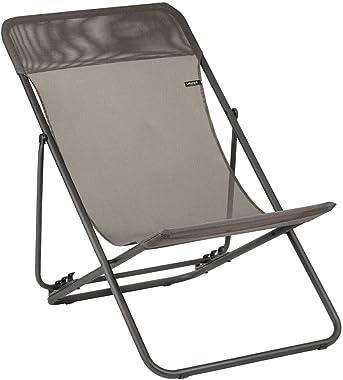 Lafuma Maxi Transat Chaise longue Coloris graphite-anthracite Chaise légère, stable et réglable