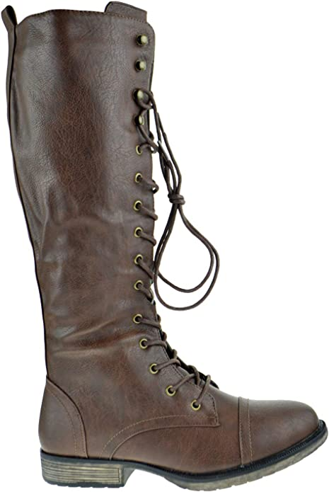 1940s Women's Footwear Nature Breeze Madge 02Kh Womens Knee High Lace Up Combat Boots  AT vintagedancer.com