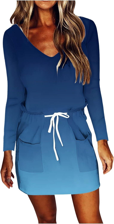 Hemlock Women Long Sleeve Dress V Neck Slim Fit Dress Drawstring Waist Dress Printed Casual Dress with Pockets